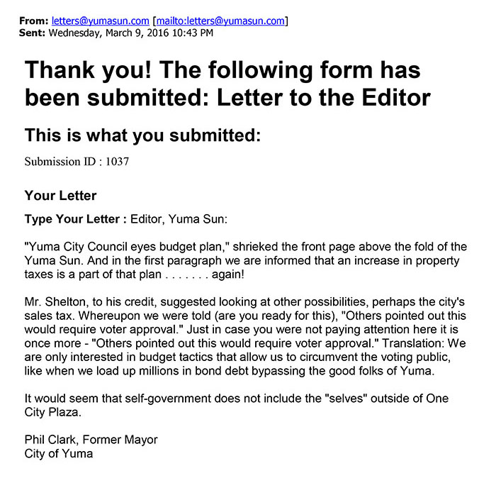 March 9 letter to the editor